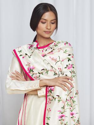 amisha kothari label pushpaja dupatta ivory hot pink