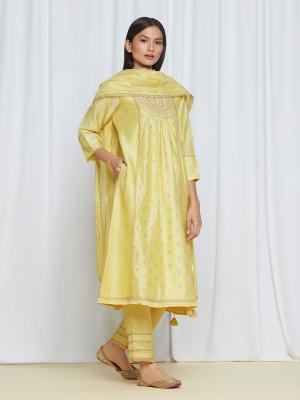 amisha kothari label utsav edit roohi kurta set yellow