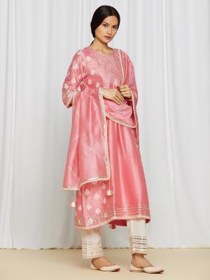 amisha kothari label edit rozana tara kurta set pink