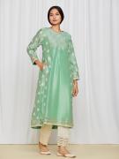 amisha kothari label edit rozana tara kurta set sea green