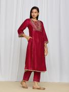 amisha kothari label utsav edit amira kurta set red