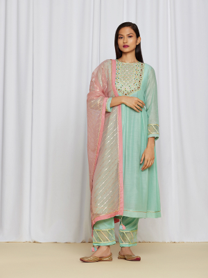 amisha kothari label utsav edit amara kurta set sea green