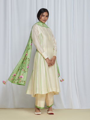 PushpajaKurtaSet Ivory/Green
