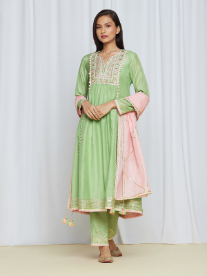 amisha kothari label utsav edit anandini kurta set mint green