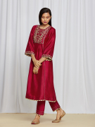 amisha kothari label utsav edit amira kurta set red
