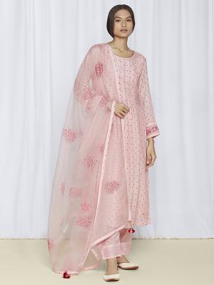 Blush Pink Kurta Set For Women Online