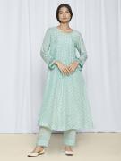 blue party wear kurta set for women