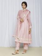 Floral Pink Kurta Pant Set For Women