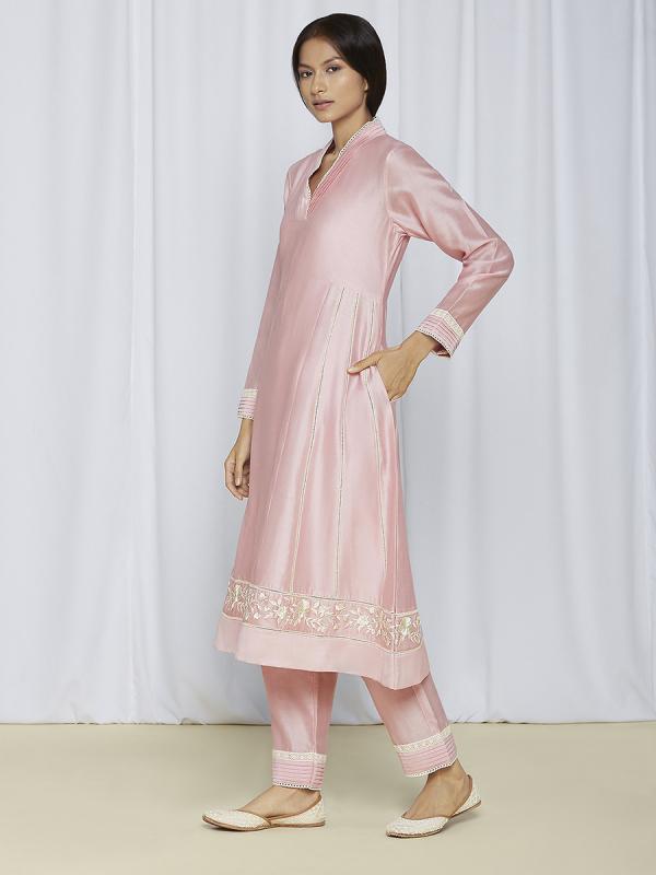 Blush Pink Kurta Pant Set For Women